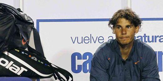 Rafa Nadal se muestra abatido tras perder la final ante Zeballos.