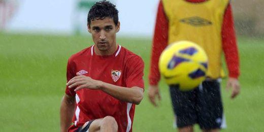 Jesús Navas, durante un entrenamiento de esta campaña.
