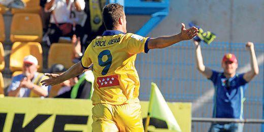 Oriol Riera festeja uno de los 18 goles conseguidos esta campaña en Segunda división.