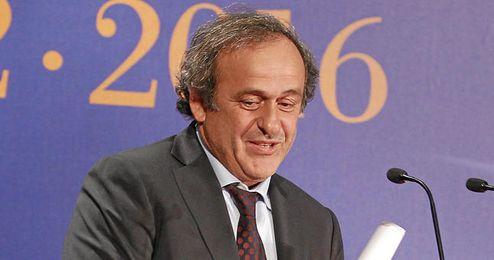 Platini durante las elecciones a la presidencia de la RFEF