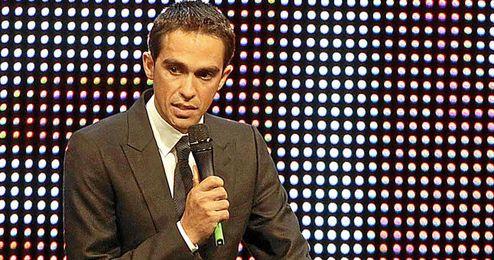 Alberto Contador durante un acto de presentación.