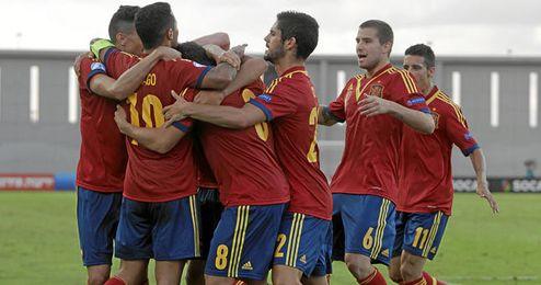 Los jugadores españoles celebran uno de los tantos logrados ante Noruega (3-0).