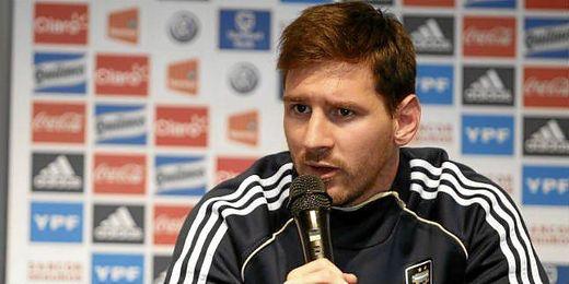 Messi, en una rueda de prensa con la selección argentina.