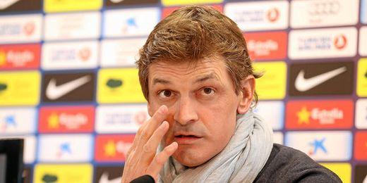 Tito Vilanova, en una rueda de prensa del pasado invierno en el Camp Nou.