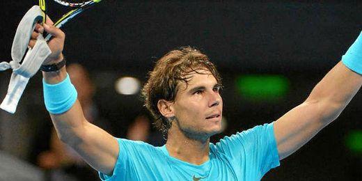 Rafa Nadal celebra su victoria ante el colombiano Santiago Giraldo.