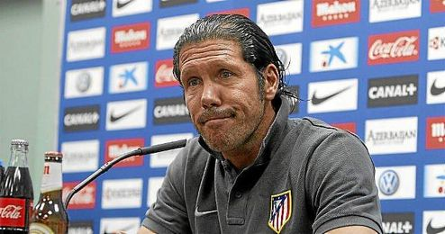 Simeone, técnico del Atlético, en sala de prensa.