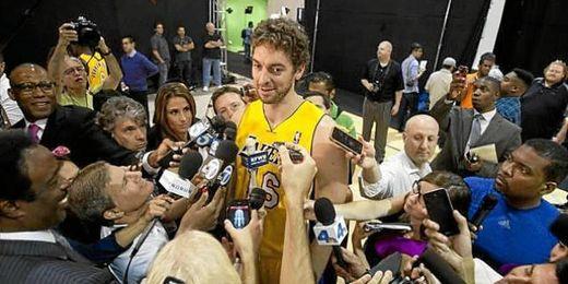 Pau Gasol está realizando la pretemporada con Lakers.