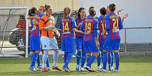 Levante UD femenino celebrando una victoria.