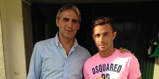 Rubén Castro ha visitado esta tarde el entrenamiento del Betis.