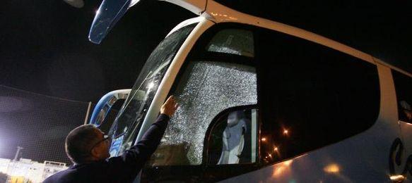 Así quedó el autobús del Lleida Sportiu en Jerez.