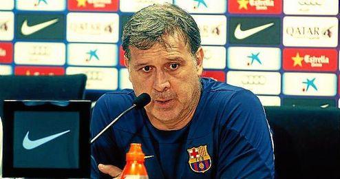 El técnico del FC Barcelona, ´Tata´ Martino, durante una rueda de prensa.