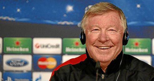 Alex Ferguson durante una rueda de prensa como entrenador del Manchester United.