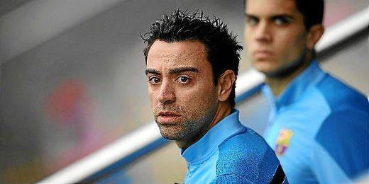 Xavi, durante un entrenamiento con el FC Barcelona.