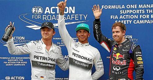 Hamilton, junto a Rosberg y Vettel, los tres primeros en la calificación de hoy.