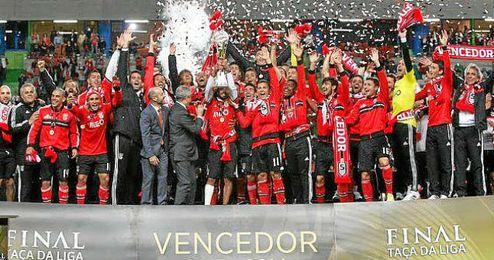 Celebración de los jugadores del Benfica.