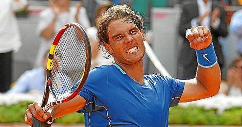 Rafa Nadal celebra su triunfo ante Bautista.