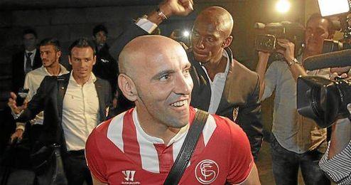 Monchi, a la llegada a Sevilla tras la semifinal ante el Valencia.