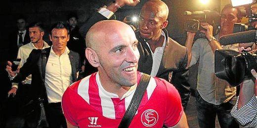 Monchi, eufórico tras la victoria sevillista en Turín.