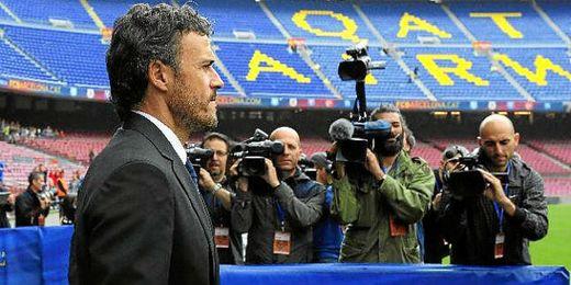 Luis Enrique en su presentación como nuevo técnico en el Camp Nou