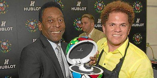 Pelé durante un acto de promoción del Mundial de Brasil.
