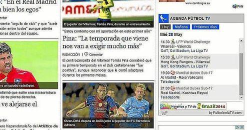 Widget de ´FutbolenlaTV´ en la web de ESTADIO Deportivo.