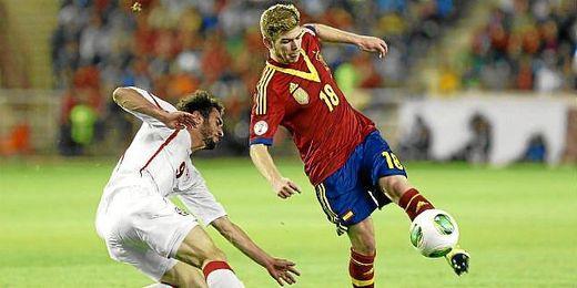 Alberto Moreno, con la selección española.