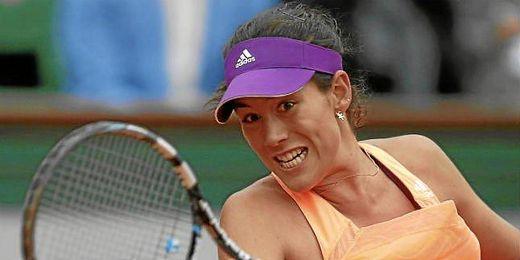 Muguruza durante un partido de Roland Garros.