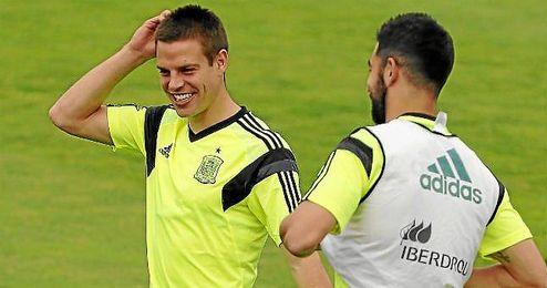 César Azpilicueta durante entrenamiento de la selección española.