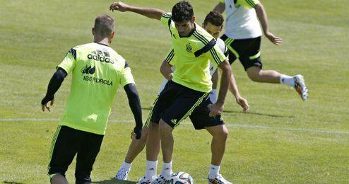 Diego Costa en un entrenamiento con la selección española.