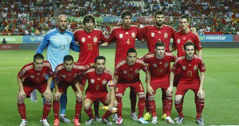 La selección española en el amistoso ante Bolivia disputado en el Sánchez Pizjuán.
