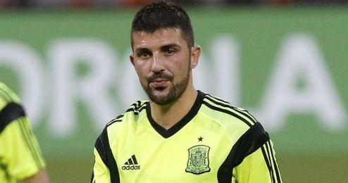 Villa en un entrenamiento con la selección española.
