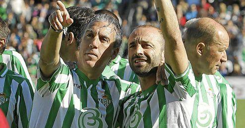 Ángel Cuellar, junto a Oli, en el partido Somos Leyenda.