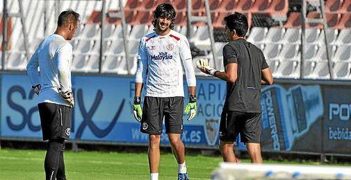 Barbosa, junto a Beto en un entrenamiento.