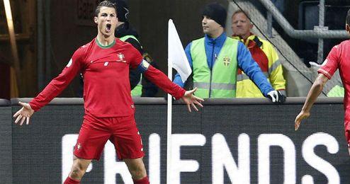 Cristiano Ronaldo en un partido con la selección portuguesa.
