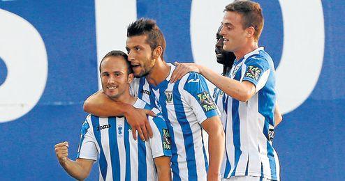 Borja Lázaro ha celebrado varios goles esta temporada.