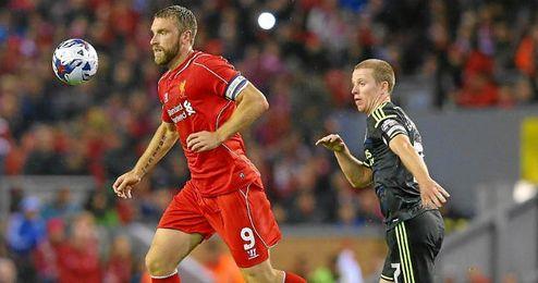 Lambert en el partido de Capital One Cup