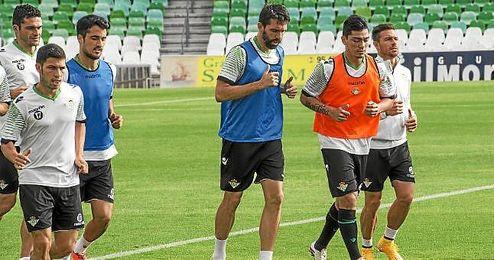 Jordi, en el entrenamiento de hoy.