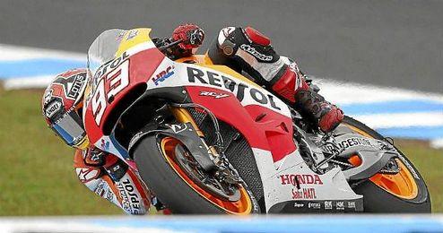 Marc Márquez rodando con su Honda.