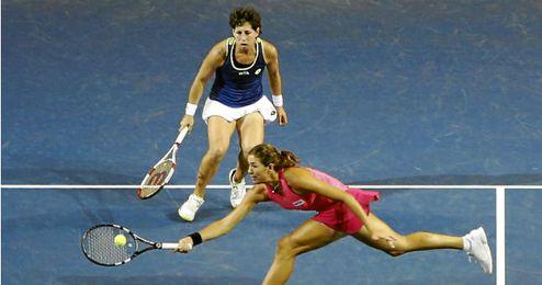 Imagen de un partido de dobles con Suárez y Muguruza.