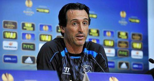 Emery, durante una rueda de prensa de la Europa League.