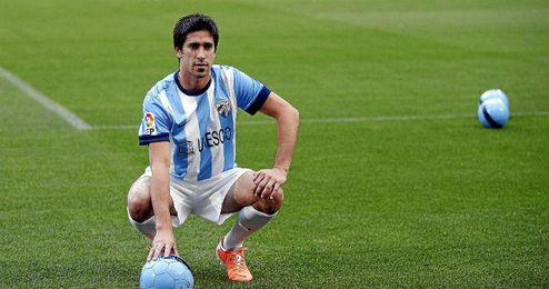 Pablo Pérez en su presentación como jugador del Málaga.