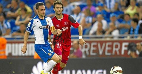Pareja, junto a Sergio García en el partido de Liga.