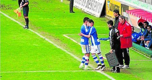Salvi Moya salió ante el Lugo en el 81´ supliendo a Braulio.