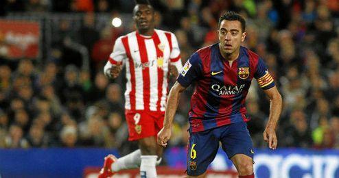 El capitán del Barcelona en un partido contra el Almería.