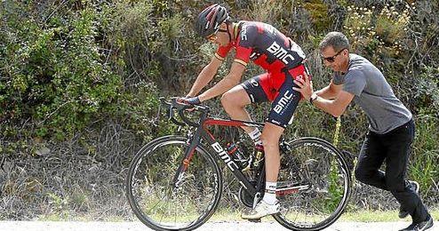 Samuel S�nchez, durante la decimotercera etapa de la Vuelta.