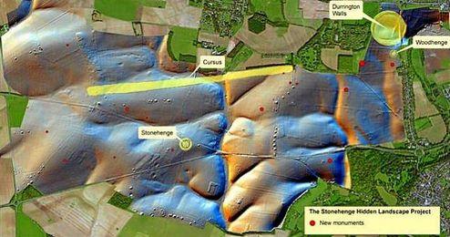 Localizaci�n del nuevo monumento megal�tico en Stonehenge.