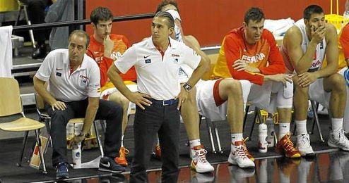 Sergio Scariolo, durante un partido del Eurobasket 2015.