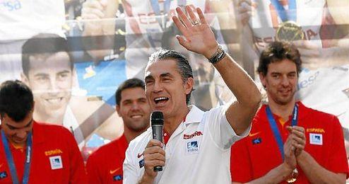 El seleccionador, en la celebración del título en Madrid.