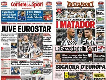 Morata, protagonista en la prensa italiana