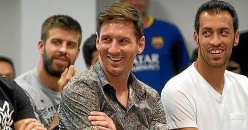 Messi, en el acto de despedida de Pedro del Barça.
